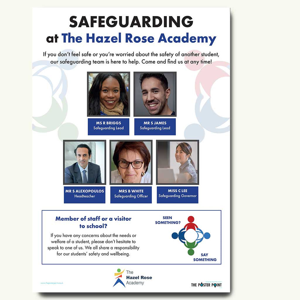 Who's who safeguarding poster for 5 staff blue