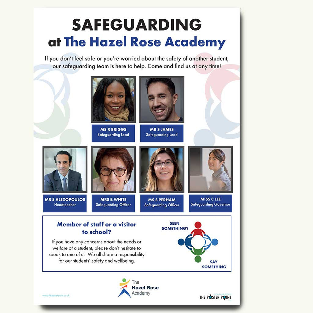 safeguarding poster for 6 staff blue