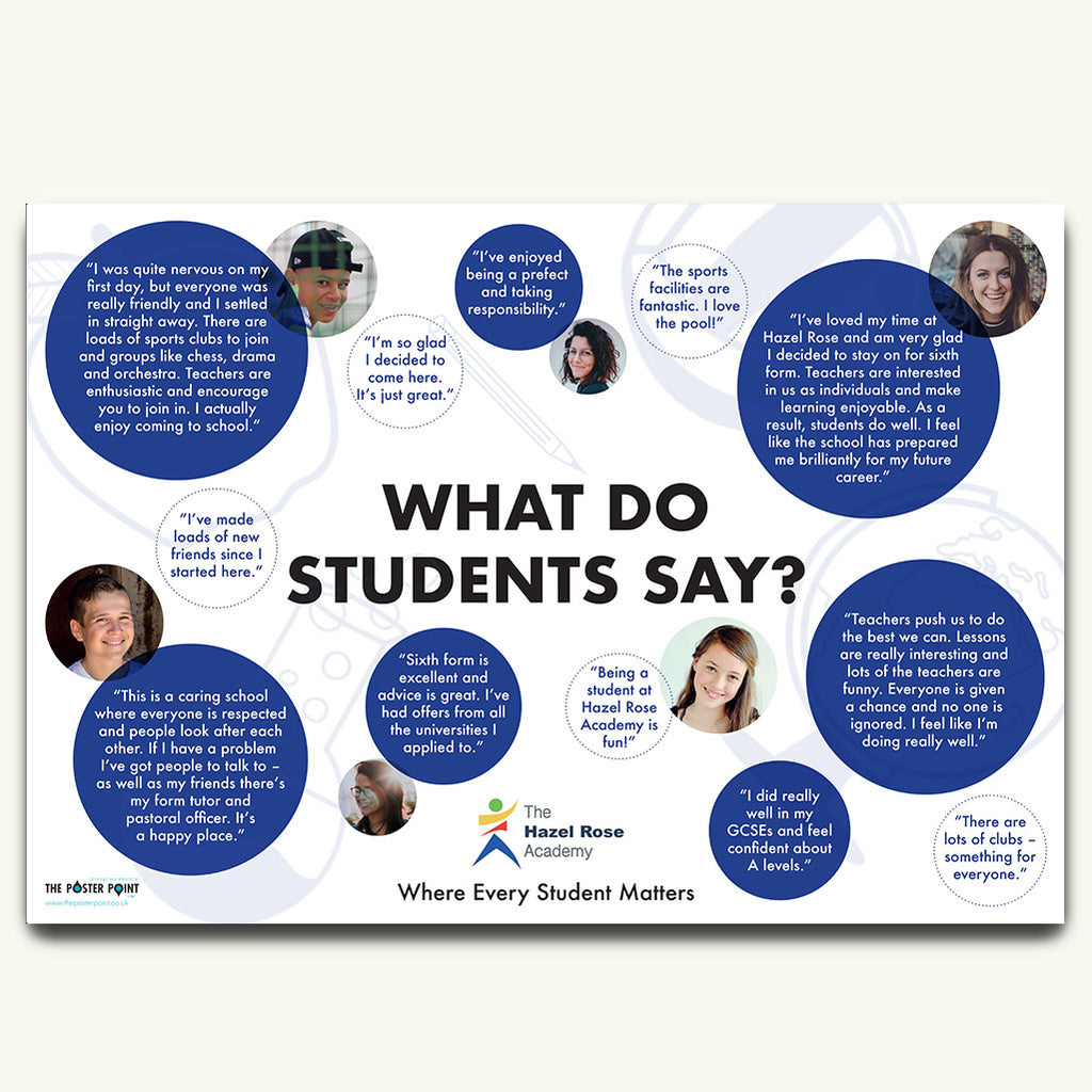 Student views poster in blue