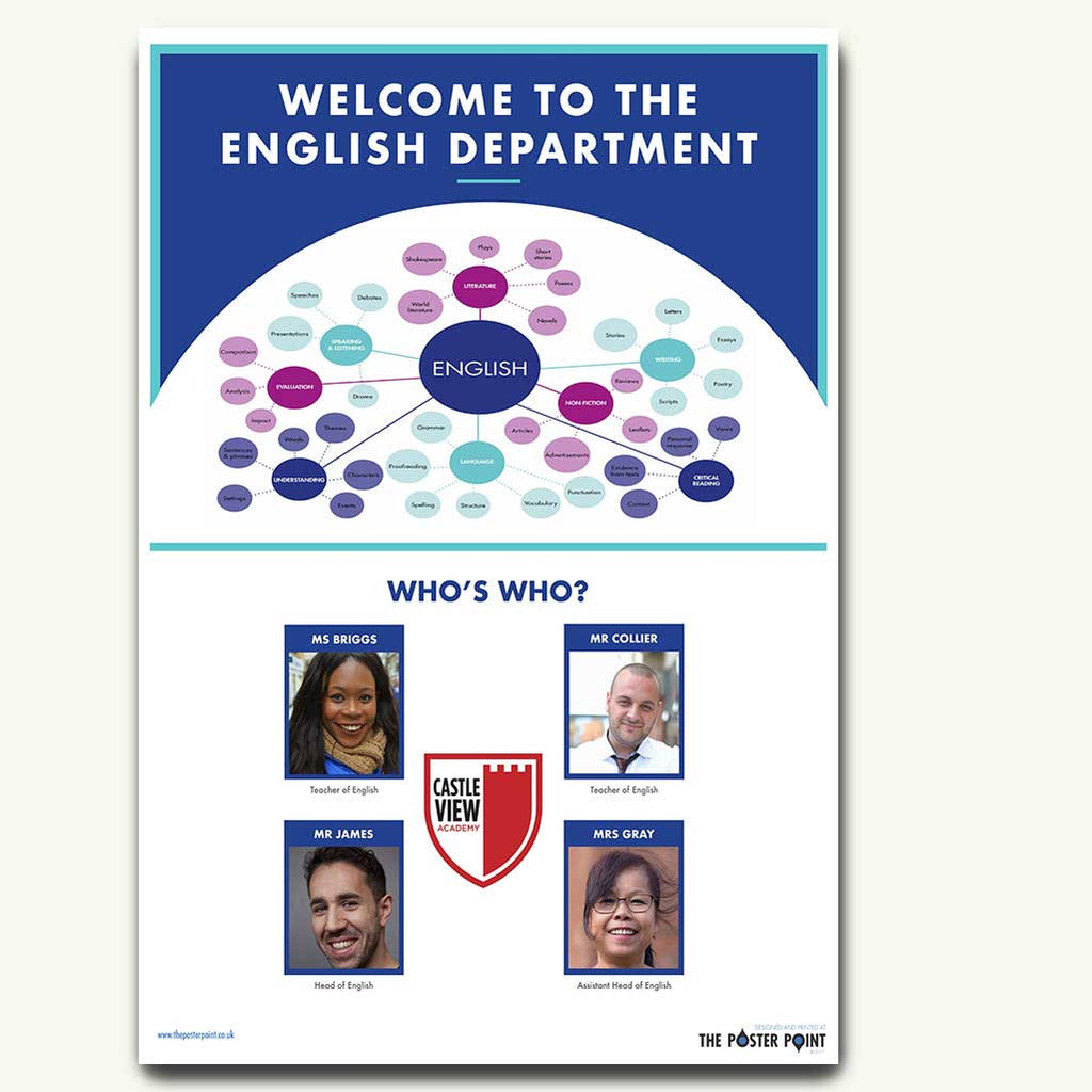 Welcome to the English Department. Custom poster for 4 members of staff