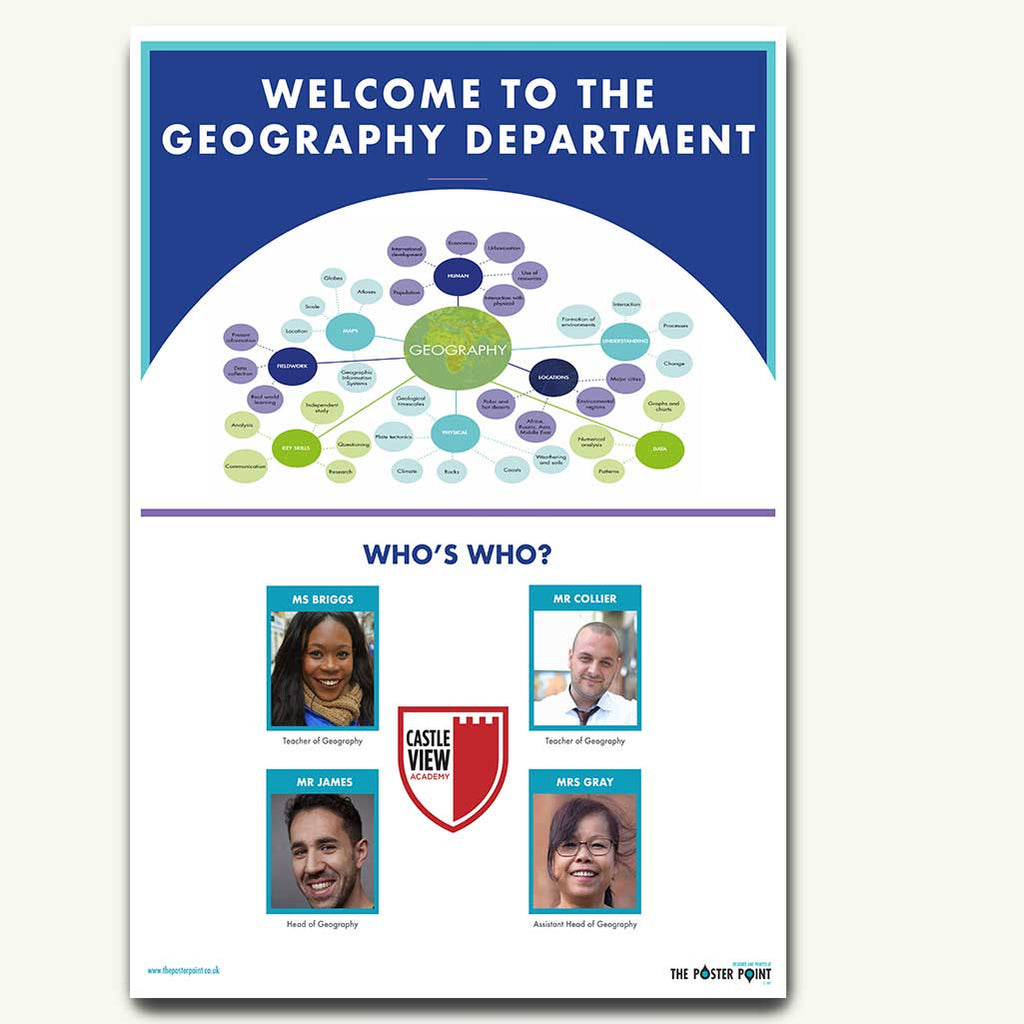 Welcome to the Geography Department. Custom poster for 4 members of staff