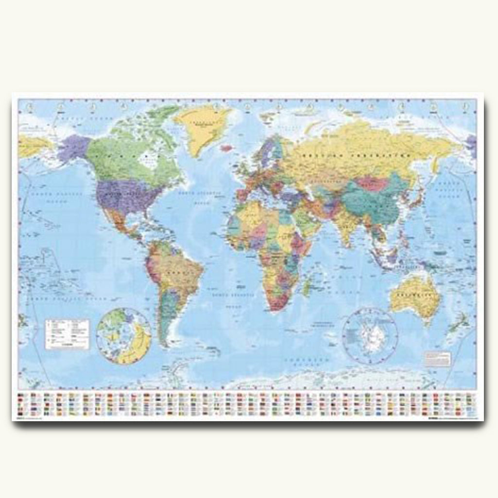 World map poster the poster point world map poster showing all countries with their flags and currencies publicscrutiny Gallery