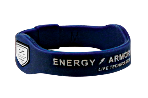 Navy Blue Negative Ion Super Wristband with Silver Letters