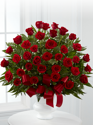 36 Red Roses in Container