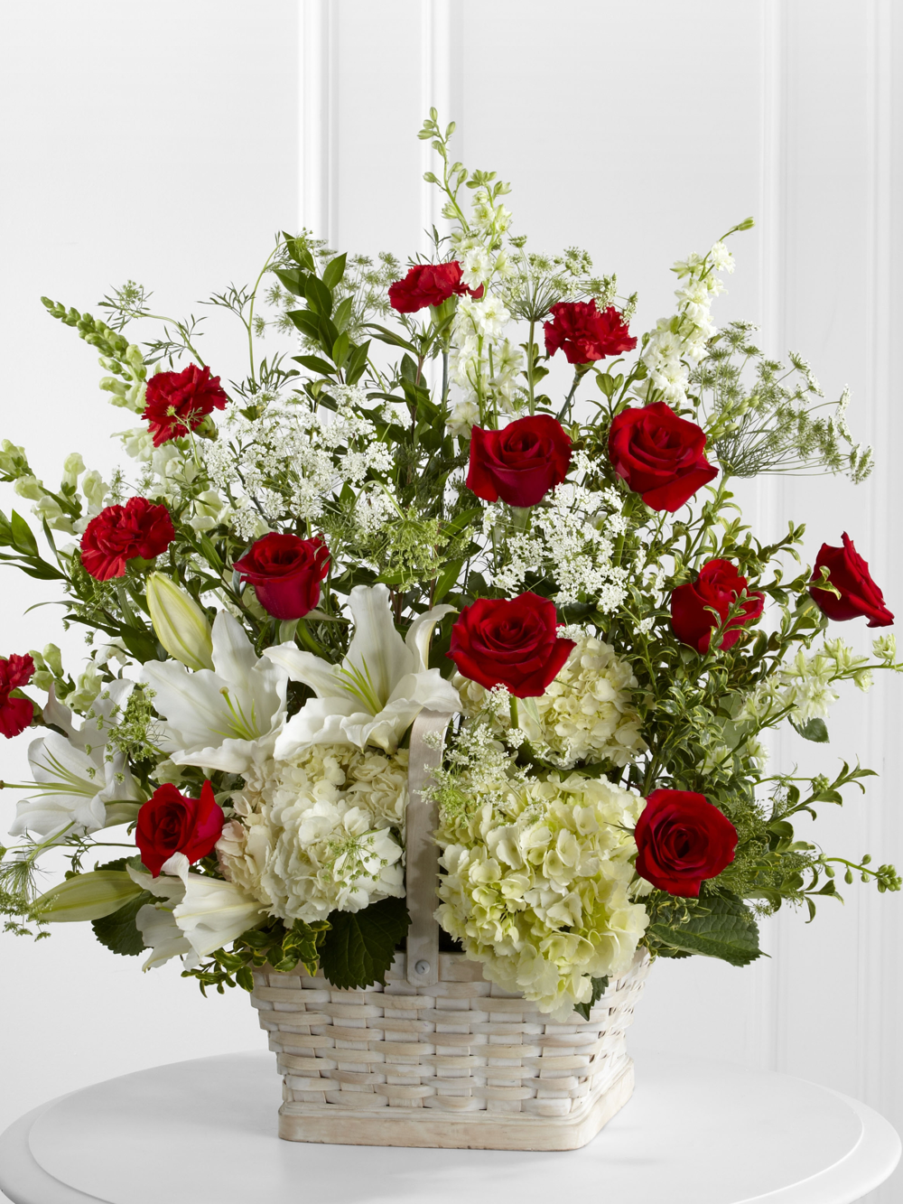 Red Roses & Lilies in Container