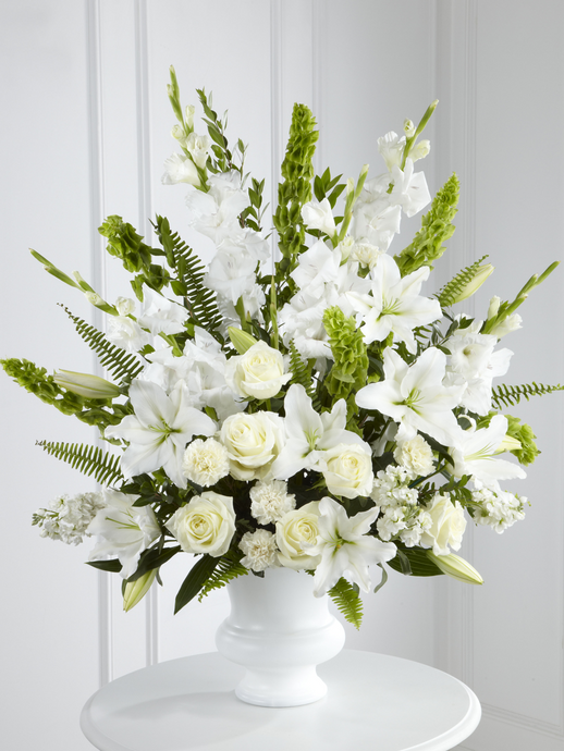 White Lilies & Roses in Container