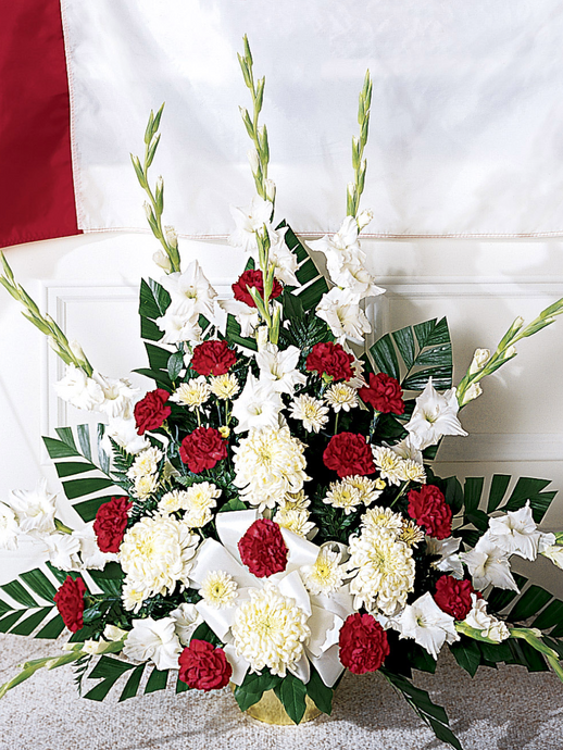 Red & White Carnations in Container