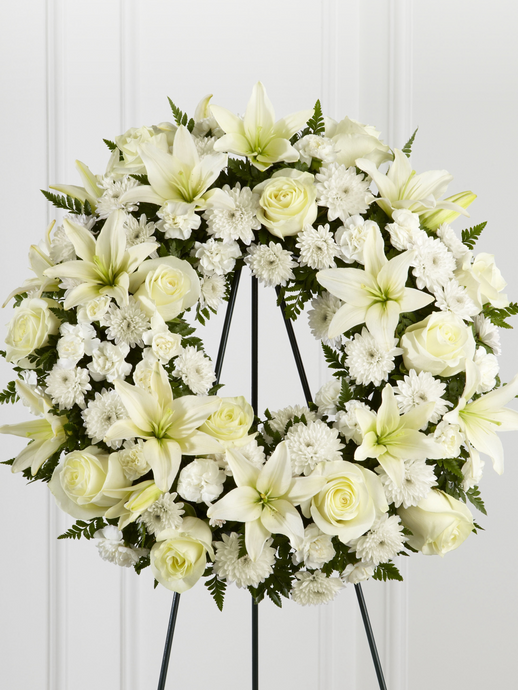 White Roses & Lilies Wreath