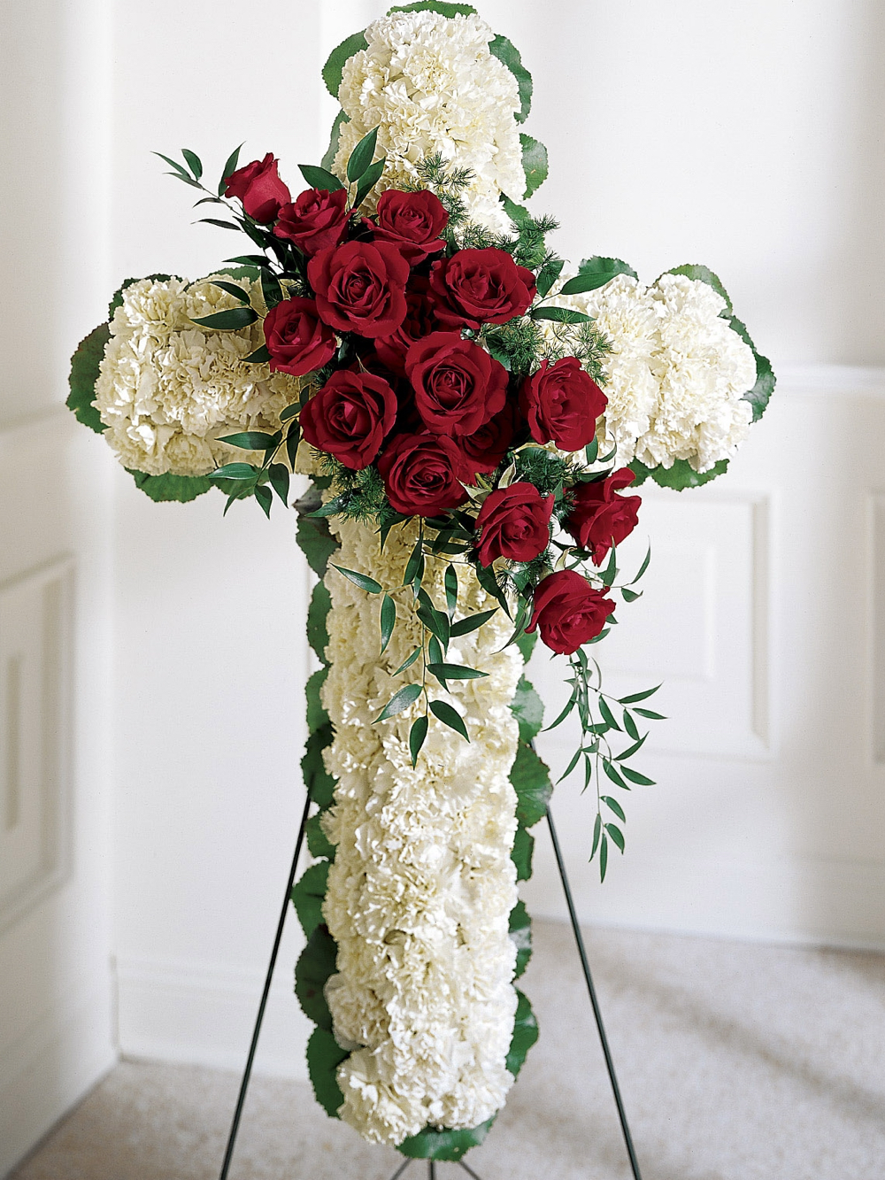 Cross with Red Roses & White Carnations