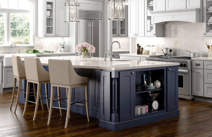 How to design a kitchen with a different color island.
