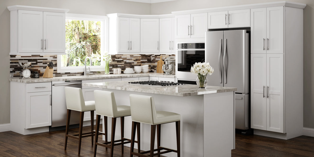 Fabulous Amesbury White Shaker Panel Rta Kitchen Cabinets Rta Wood Home Interior And Landscaping Ologienasavecom