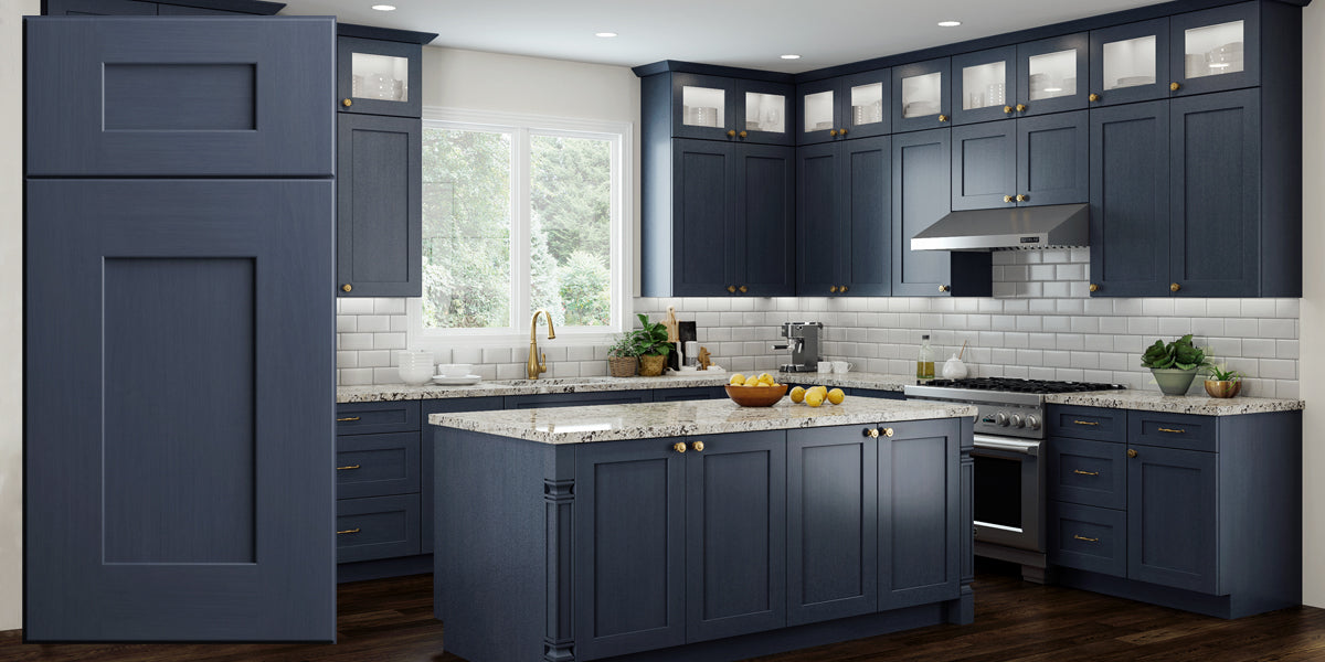 Elegant Ocean Blue Shaker Recessed Assembled Kitchen Cabinets Rta Wood Cabinets