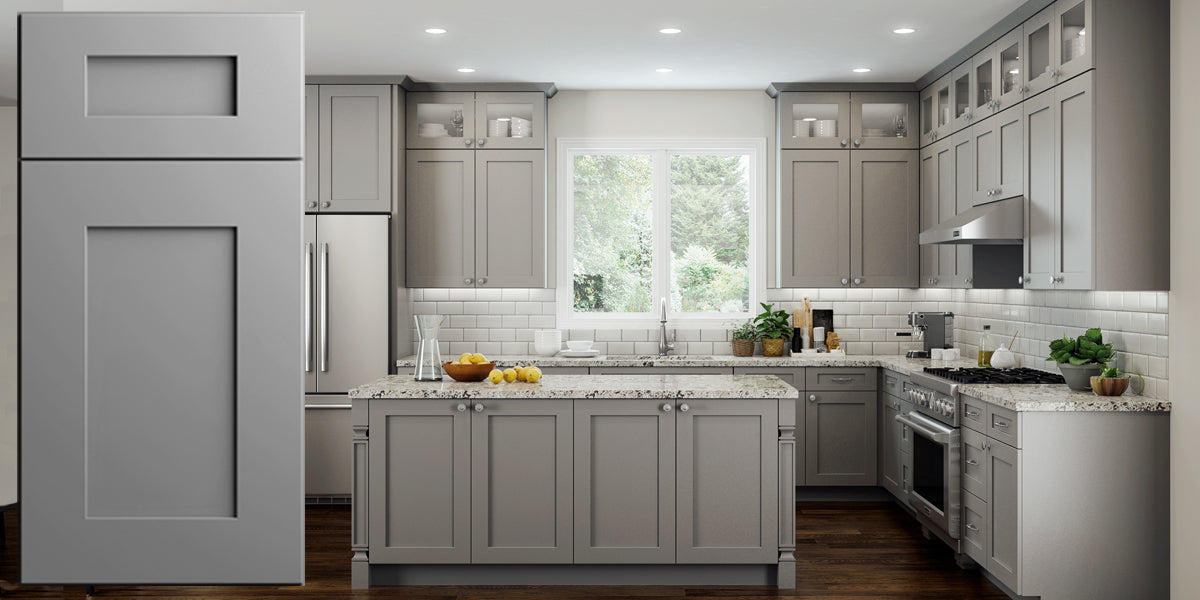 Elegant Dove Gray Shaker Panel Assembled Kitchen Cabinets Rta Wood Cabinets