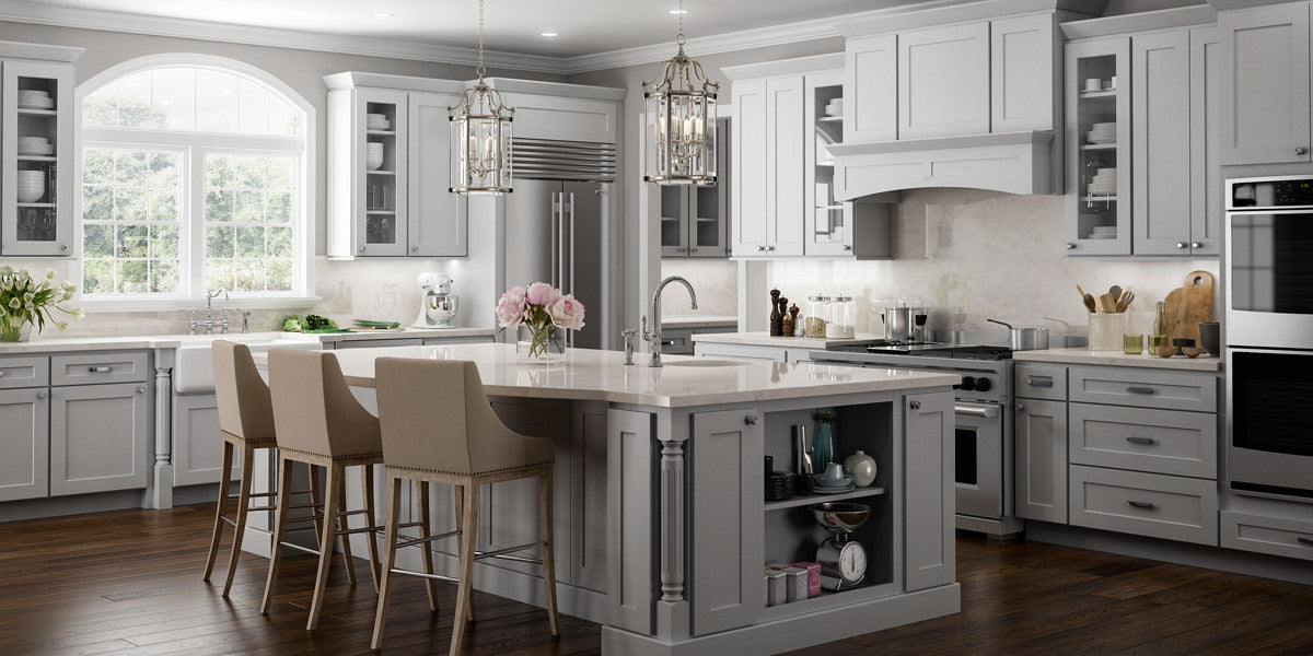 Norwich Gray Shaker Panel RTA Kitchen Cabinets RTA Wood Cabinets - Light gray painted kitchen cabinets