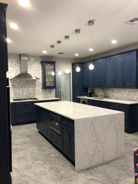 Kitchen design with waterfall countertop