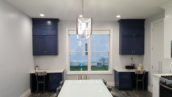 Fashion Ocean Blue Kitchen Cabinet Desk Area