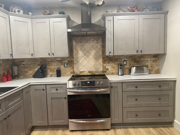 Elegant smokey gray kitchen cabinets