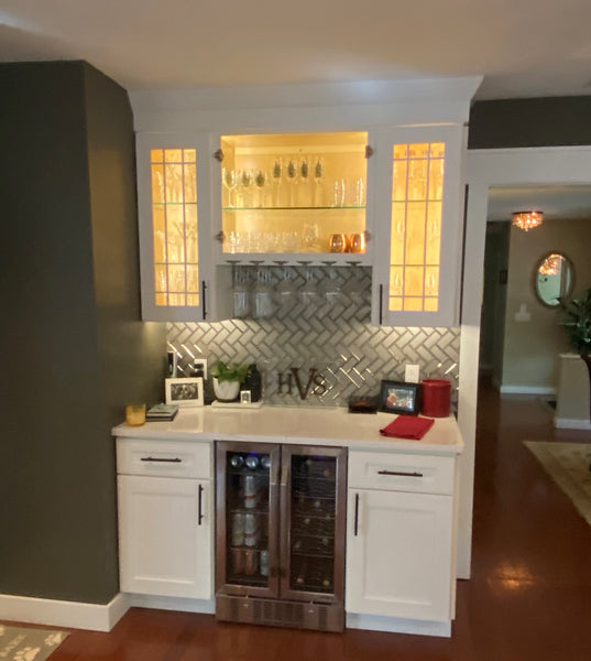 JSI kitchen cabinets bar area