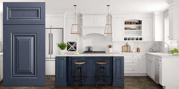 Blue Raised Panel Kitchen Cabinets