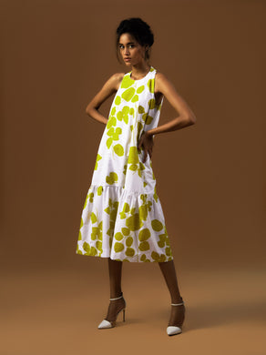 Green Leaf Gather Dress