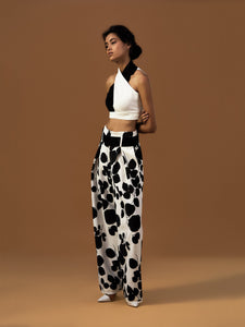 Leaf Print Wide Leg Trousers