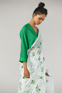 Kelly Green Floral Saree