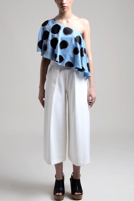 Single Pleat Flared Trousers