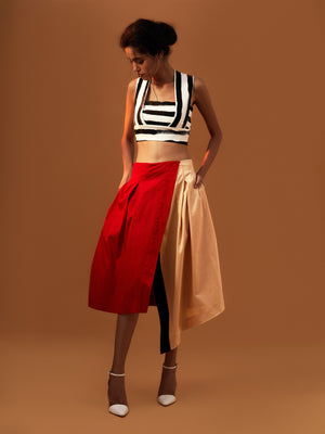 Box Pleat Color Block Skirt