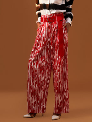 Piano Print Wide Leg Trousers