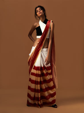 Red Striped Saree