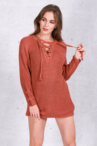 Lace up knitted winter sweater