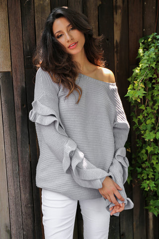 Ruffles Sleeve Knitted Pullover