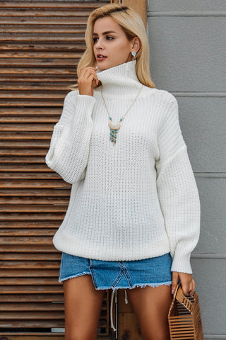 Sexy Lace Up Knitted Turtleneck Sweater