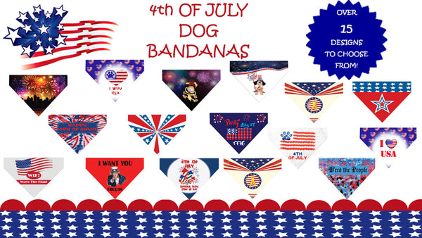 Plus Size Pups 4th of July Over the Collar Dog Bandanas