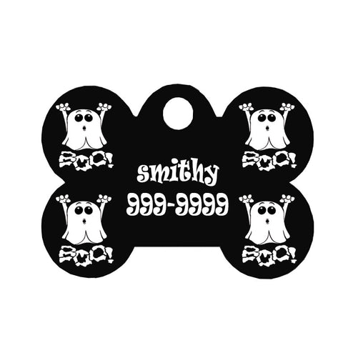 Halloween Dog Tag Bone Style - Boo Ghost