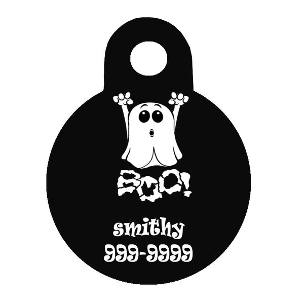 Halloween Dog Tag Round Style - Boo Ghost