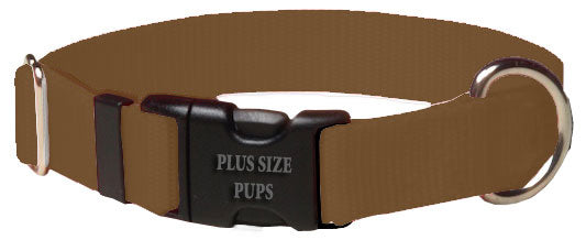 Plus Size Pups Solid Color Dog Collar Brown