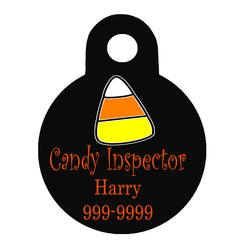 Halloween Dog Tag Round Style - Candy Inspector