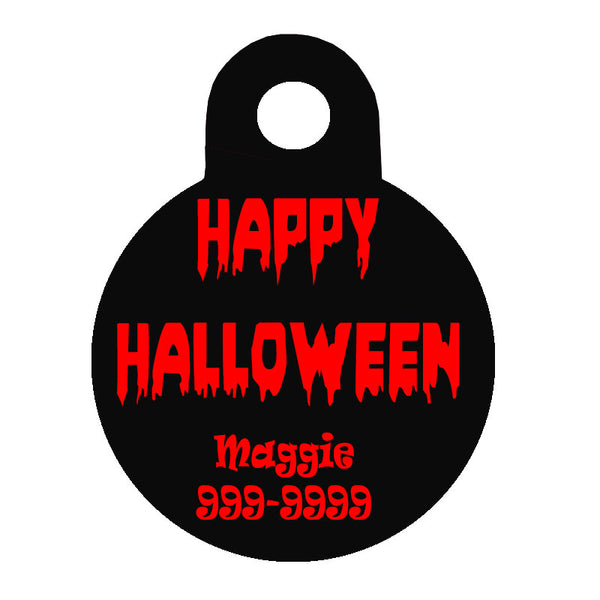 Halloween Dog Tag Round Style - Happy Halloween