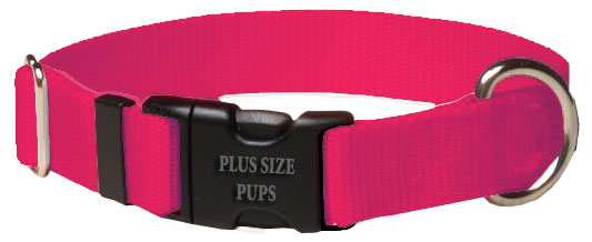 Plus Size Pups Solid Color Dog Collar Hot Pink