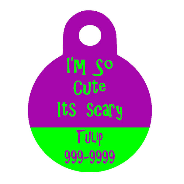 Halloween Dog Tag Round Style - I'm So Cute It's Scary