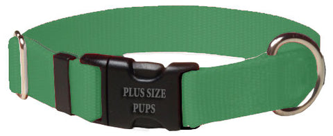 Plus Size Pups Solid Color Dog Collar Green
