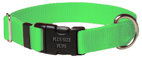 Plus Size Pups Solid Collar Dog Collar Neon Green