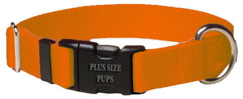 Plus Size Pups Solid Color Dog Collar Orange