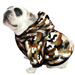 English Bulldog BIGGER THAN BEEFY Hoodie Fleece - Fits 56 - 80 LB Dog - +20 Patterns to Choose From!