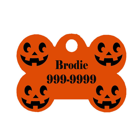 Halloween Dog Tag Bone Style - Pumpkin Face