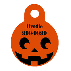Halloween Dog Tag Round Style - Pumpkin Face
