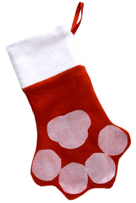 Christmas Paw Print Stocking