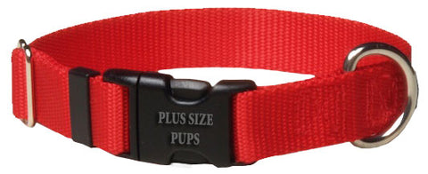 Plus Size Pups Solid Color Dog Collar Red