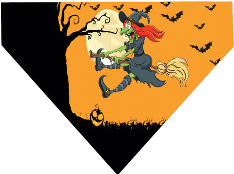 Plus Size Pups Halloween Dog Bandana Flying Witch